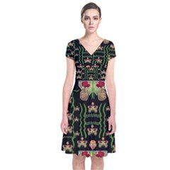 Roses In The Soft Hands Makes A Smile Pop Art Short Sleeve Front Wrap Dress