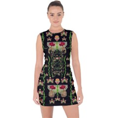 Roses In The Soft Hands Makes A Smile Pop Art Lace Up Front Bodycon Dress