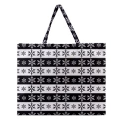 Snowflakes   Christmas Pattern Zipper Large Tote Bag