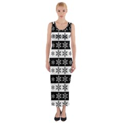 Snowflakes   Christmas Pattern Fitted Maxi Dress
