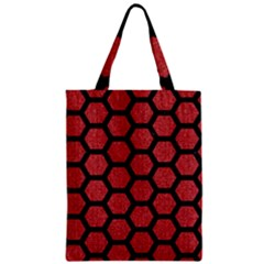 Hexagon2 Black Marble & Red Denim Zipper Classic Tote Bag