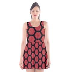 Hexagon2 Black Marble & Red Denim Scoop Neck Skater Dress