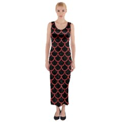 Scales1 Black Marble & Red Denim (r) Fitted Maxi Dress