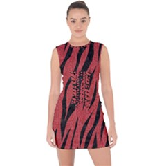 Skin3 Black Marble & Red Denim Lace Up Front Bodycon Dress