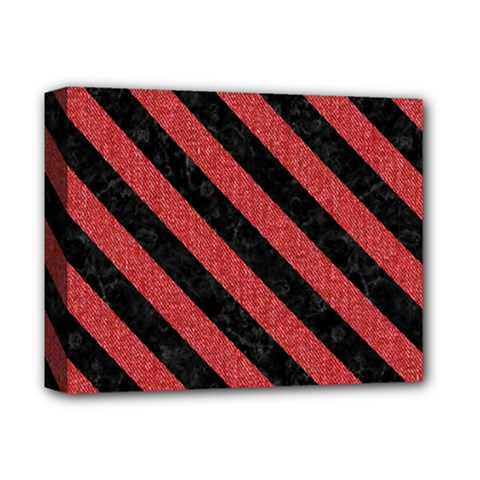 Stripes3 Black Marble & Red Denim Deluxe Canvas 14  X 11
