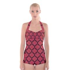 Tile1 Black Marble & Red Denim Boyleg Halter Swimsuit