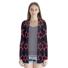 Tile1 Black Marble & Red Denim (r) Drape Collar Cardigan