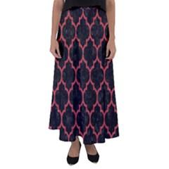Tile1 Black Marble & Red Denim (r) Flared Maxi Skirt