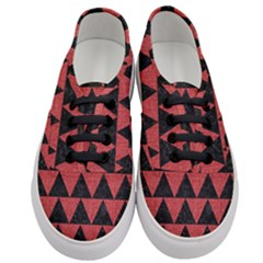 Triangle2 Black Marble & Red Denim Women s Classic Low Top Sneakers
