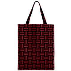 Woven1 Black Marble & Red Denim (r) Zipper Classic Tote Bag