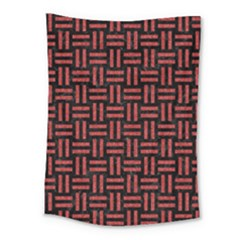 Woven1 Black Marble & Red Denim (r) Medium Tapestry