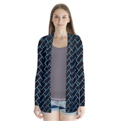 Brick2 Black Marble & Teal Brushed Metal (r) Drape Collar Cardigan