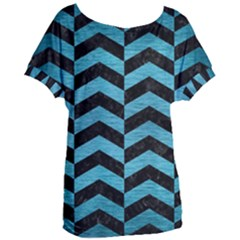 Chevron2 Black Marble & Teal Brushed Metal Women s Oversized Tee