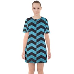 Chevron2 Black Marble & Teal Brushed Metal Sixties Short Sleeve Mini Dress