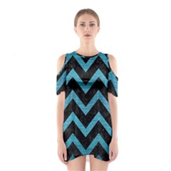 Chevron9 Black Marble & Teal Brushed Metal (r) Shoulder Cutout One Piece