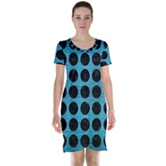Circles1 Black Marble & Teal Brushed Metal Short Sleeve Nightdress