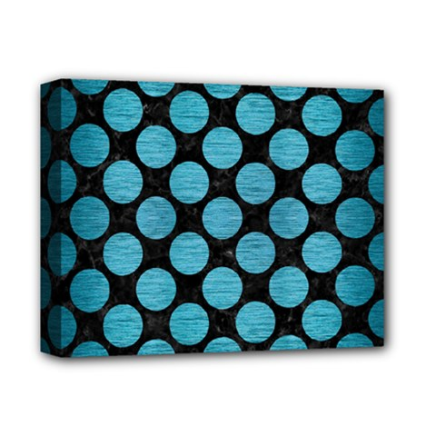 Circles2 Black Marble & Teal Brushed Metal (r) Deluxe Canvas 14  X 11