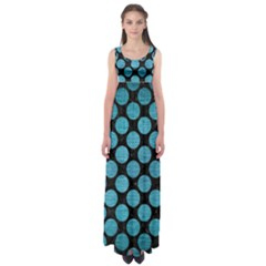 Circles2 Black Marble & Teal Brushed Metal (r) Empire Waist Maxi Dress