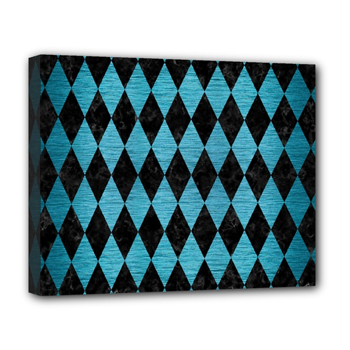 DIAMOND1 BLACK MARBLE & TEAL BRUSHED METAL Deluxe Canvas 20  x 16