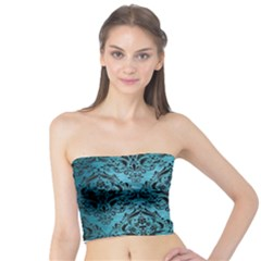 Damask1 Black Marble & Teal Brushed Metal Tube Top