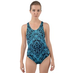 Damask1 Black Marble & Teal Brushed Metal Cut Out Back One Piece Swimsuit