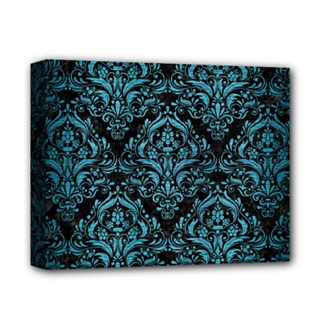 Damask1 Black Marble & Teal Brushed Metal (r) Deluxe Canvas 14  X 11