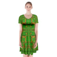 Golden Green And  Sunshine Pop Art Short Sleeve V Neck Flare Dress