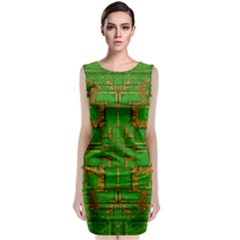 Golden Green And  Sunshine Pop Art Classic Sleeveless Midi Dress