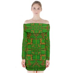 Golden Green And  Sunshine Pop Art Long Sleeve Off Shoulder Dress