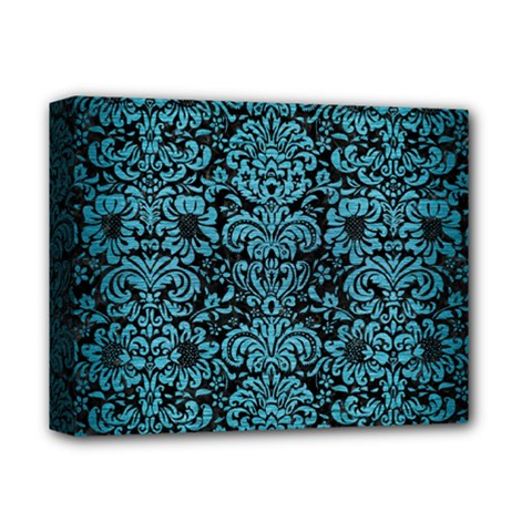Damask2 Black Marble & Teal Brushed Metal (r) Deluxe Canvas 14  X 11