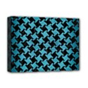 HOUNDSTOOTH2 BLACK MARBLE & TEAL BRUSHED METAL Deluxe Canvas 16  x 12   View1