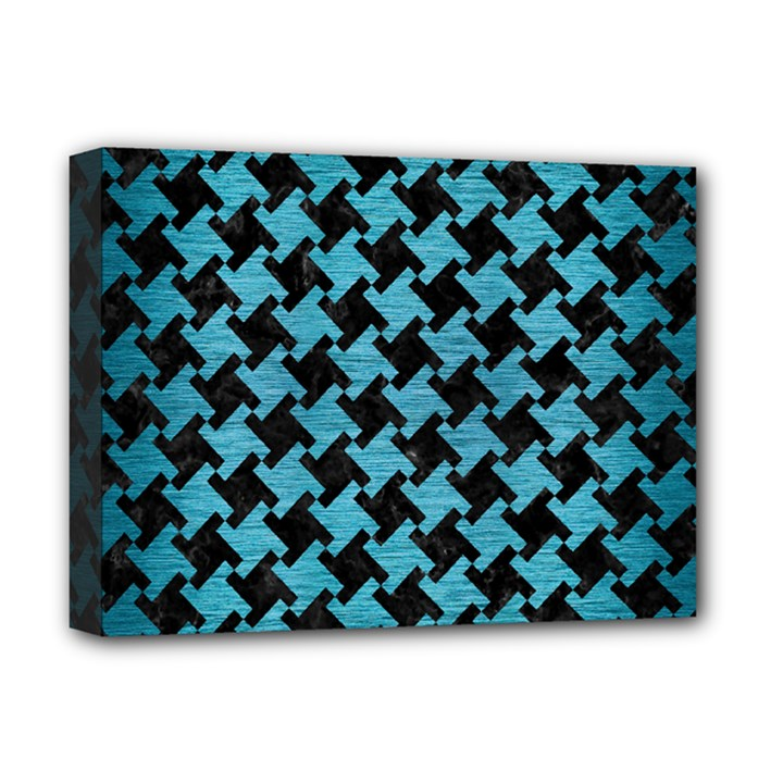 HOUNDSTOOTH2 BLACK MARBLE & TEAL BRUSHED METAL Deluxe Canvas 16  x 12