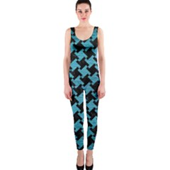 Houndstooth2 Black Marble & Teal Brushed Metal Onepiece Catsuit