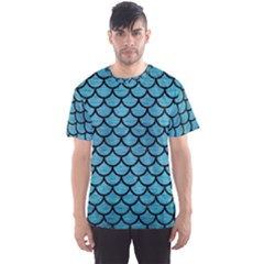 Scales1 Black Marble & Teal Brushed Metal Men s Sports Mesh Tee