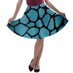 Skin1 Black Marble & Teal Brushed Metal (r) A Line Skater Skirt