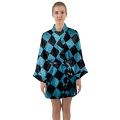 Square2 Black Marble & Teal Brushed Metal Long Sleeve Kimono Robe