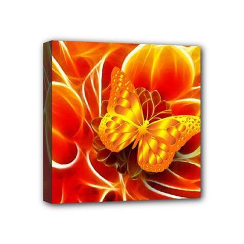Arrangement Butterfly Aesthetics Orange Background Mini Canvas 4  X 4