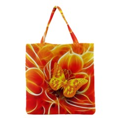 Arrangement Butterfly Aesthetics Orange Background Grocery Tote Bag