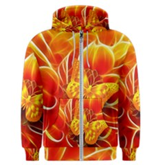 Arrangement Butterfly Aesthetics Orange Background Men s Zipper Hoodie