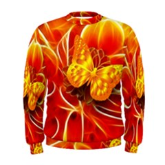 Arrangement Butterfly Aesthetics Orange Background Men s Sweatshirt