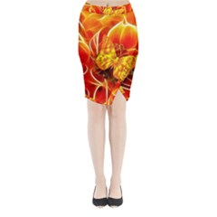 Arrangement Butterfly Aesthetics Orange Background Midi Wrap Pencil Skirt