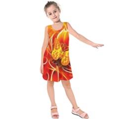 Arrangement Butterfly Aesthetics Orange Background Kids  Sleeveless Dress
