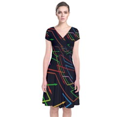 Arrows Direction Opposed To Next Short Sleeve Front Wrap Dress
