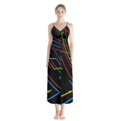 Arrows Direction Opposed To Next Button Up Chiffon Maxi Dress