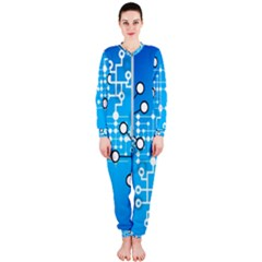 Block Chain Data Records Concept Onepiece Jumpsuit (ladies)
