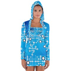 Block Chain Data Records Concept Long Sleeve Hooded T Shirt