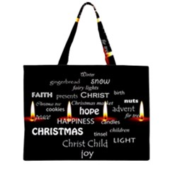 Candles Christmas Advent Light Zipper Large Tote Bag