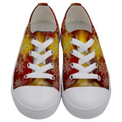 Christmas Candles Christmas Card Kids  Low Top Canvas Sneakers