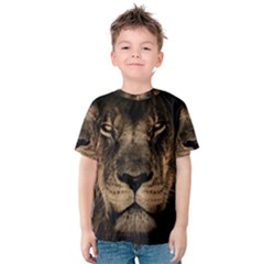 African Lion Mane Close Eyes Kids  Cotton Tee
