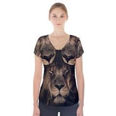 African Lion Mane Close Eyes Short Sleeve Front Detail Top